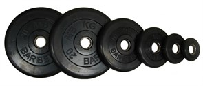 Диски обрезиненные Barbell черные, вес от 1,25 до 25 кг в ассортименте