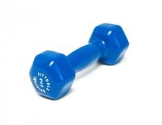 Виниловая гантель для фитнеса Original FitTools 2 кг синяя