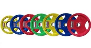 Диски обрезиненные Johns с тройным хватом цветные, вес от 1,25 до 25 кг в ассортименте