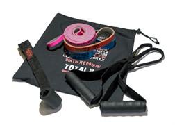 Набор из трех двуцветных эспандеров с аксессуарами в сумке